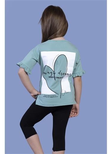 Toontoy Kids Toontoy Kız Çocuk Düşük Kol Büzgü Detaylı Baskılı Taytlı Takım Yeşil